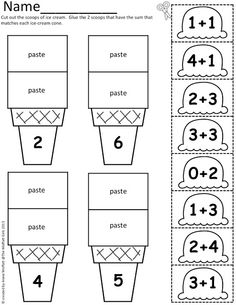 math worksheet : addition and subtraction math and cuttings on pinterest : Math Cut And Paste Worksheets