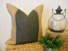 Natural Burlap Two Toned Pillow Cover. http://www.TheRusticTwigUS.etsy.com
