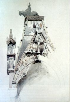 John Ruskin, Study of the North Gable of the Tomb of Can Mastino II, Verona, 1852.Pencil, and watercolour, with some ink, on pale cream paper, 40.5 x 27cm.Source: Robert Hewison, Ruskin, Turner and the Pre-Raphaelites, 2000.