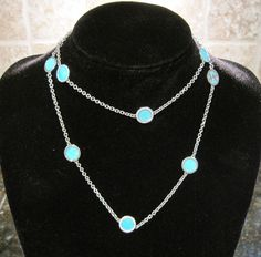 Michael Kors Sea Side~Silver~Turquoise Blue Slice Station Necklace~MKJ246~$125 #MichaelKors #Chain