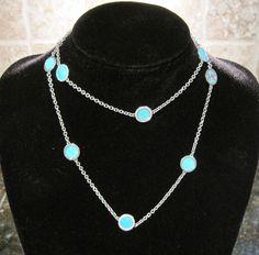 Michael Kors Sea Side~Silver~Turquoise Blue Slice Station Necklace~MKJ246~$125 #MichaelKors #Chain