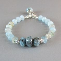 Aquamarine Gemstone Sterling Silver Bead Bracelet DJStrang Blue Boho Cottage Chic
