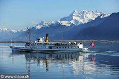"Boat on Lake Geneva with mountain range ""les dents du Midi"" in the back (right side). Lausanne, Lake Geneva, Power Boats, Mountain Range, Homeland, Lakes, Switzerland, Mount Everest, Photos"