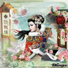 Amazing Asian Lady With Doves And Flowers. Asiatische Lady Mit Tauben Und Blumen.