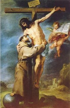 St. Francis Embracing Christ on the Cross - Bartolome Esteban Murillo. c.1668. Oil on canvas. 277 x 181 cm. Museo de Bellas Artes, Seville, Spain.