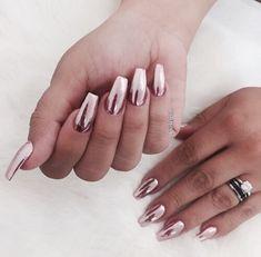Matalic rose gold nails