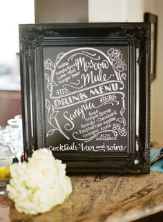 #menus #chalkboard Photography by leilabrewsterphotography.com  Read more - http://www.stylemepretty.com/2013/09/24/palm-springs-estate-wedding-from-leila-brewster/