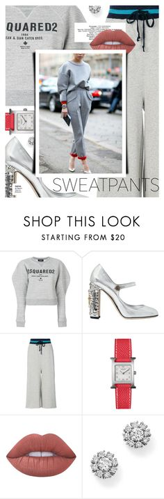 """""""Comfort is Key: Sweatpants"""" by cultofsharon ❤ liked on Polyvore featuring Dsquared2, Dolce&Gabbana, Diesel, Hermès, Lime Crime, Roberto Coin and Marc"""