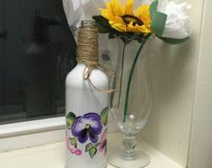 Pintado de botella de vino botella de gallo por ThePaintedBeach