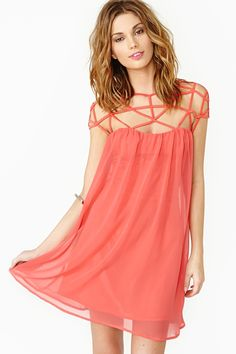 Caged Chiffon Dress in Red