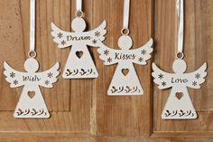 """Hänger Schutzengel """"Wish/Dream.."""" Metall Anhänger in weiß, 4er Set Wohnen & Lifestyle Weihnachten"""