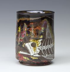 Fossil Fish Cup, by Bruce Gholson, Bulldog Pottery, Seagrove, North Carolina, AKAR Yunomi Invitational