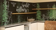 Wandgestaltung im Hotel Lärchenhof am Katschberg. Art Quotes, Chalkboard, Wellness, Wall Design, Woodland Forest, Chalk Board, Chalkboards, Blackboards
