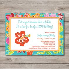 Hey, I found this really awesome Etsy listing at https://www.etsy.com/listing/208887072/luau-invitation-with-changeable-text