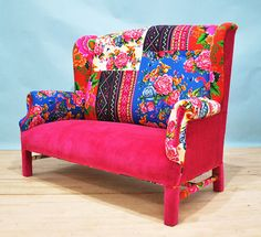 Pink fever wing patchwork sofa by namedesignstudio on Etsy. How did a designer in Turkey know exactly how I would have covered this sofa? Beautiful!