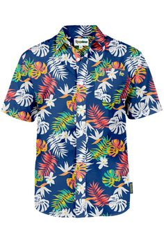 Jewel-toned tropical plants charm and bedazzles the eye on this attractive Hawaiian shirt. Shop now!
