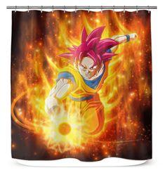 Goku Shower Curtain Super Saiyan God Dragon Ball Gift For Anime Fans - 71x74 Shower Curtain / White