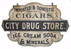 Vintage Sign City Drug Store / black and white