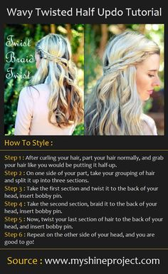 Wavy Twisted Half Updo Tutorial How To Style : Step 1 : After curling your hair, part your hair normally, and grab your hair li. Half Updo Tutorial, Pretty Hairstyles, Braided Hairstyles, Coiffure Hair, Braid Hair, How To Curl Your Hair, Twist Braids, Twist Hair, Twists