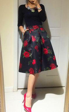 6daae47bafd Aliexpress.com   Buy 2016 New Fashion Super Elegant Ladies Floral Umbrella  Long Skirt Vintage Rose Print High Waist Skirts Jupe Femme from Reliable  umbrella ...
