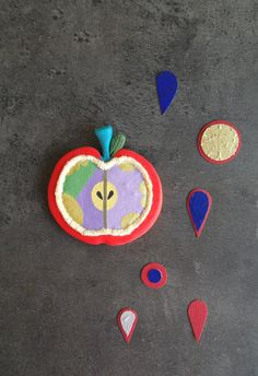 Apple brooch fruit brooch polymer clay fruit jewelry by Perrrce
