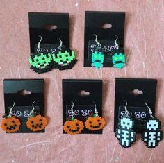 Halloween perler bead earrings.
