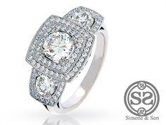 Double Halo Three Stone Engagement Ring   Simone & Son   Orange County Custom Jewelry