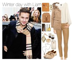 """""""Winter day with your baby {Mrs. Payne}"""" by mmatildecunha ❤ liked on Polyvore featuring AG Adriano Goldschmied, H&M, Charlotte Russe, French Kande, MICHAEL Michael Kors, Naf Naf, Eva Solo, Becca, MAC Cosmetics and Palila"""
