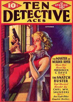 Ten Detective Aces 1935. Cover art by Rafael de Soto.