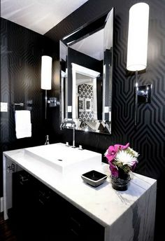 I love the black and white idea. Classy and fun! Just a pop of color!