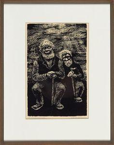 """KAARE ESPOLIN JOHNSON SURNADAL, NORDMØRE 1907 - OSLO 1994  """"Gubber"""" 1955 Serigrafi, 40/75. 30x19 cm Signert nede til høyre: Espolin Johnson"""