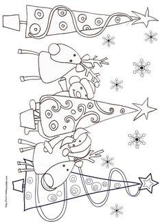Collection de coloriages des rennes de Noël