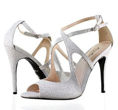 "cool Narrow Silver Color Fashion Buckle Open Sexy Pumps Proms Open Toe Womens 4.5"" High Heels Sandals Party Dress Shoes New Without Box"