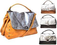 HAND BAG 0083 OCRA FANGO NERO GRIGIO Borchie Borsa Mano Tracolla Donna  Postino c7ffbf2e60f