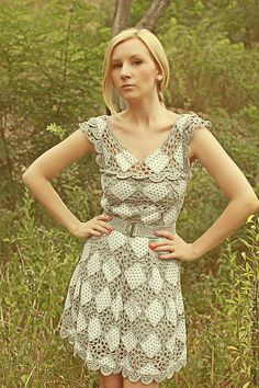"""Love the combination of fabric and crochet. Not the same old use of granny squares. Fair Masters - handmade Copyright dress """"white silver"""""""