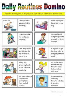 Daily Routines Domino (30 cards) worksheet - Free ESL printable worksheets made by teachers