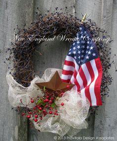 Patriotic Wreath, American Flag Wreath, Americana, 4th of July, Memorial Day Wreath on Etsy, $129.00