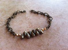 Stacked Pyrite and Brass bracelet by StoneWireWorks on Etsy
