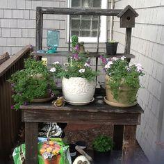 Homemade potting stand