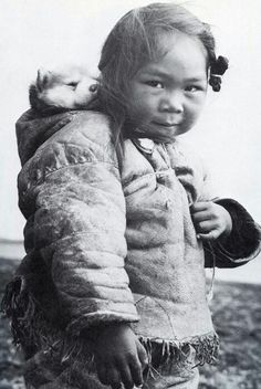 Native American Girl & Her Siberian Husky. I love this pic with her puppy on her back. This picture is for your eyes only :)