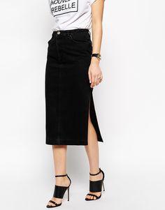 Image 4 ofASOS Denim Midi Skirt in Washed Black with Side Split