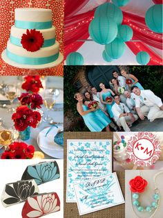 Turquoise and Red Wedding Colors Inspiration « sofiainvitationsblog