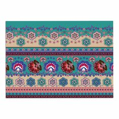 KESS InHouse Victoria Krupp 'Folkloric Flowers Border' Purple Floral Dog Place Mat, 13' x 18' >>> Unbelievable dog item right here! : Dog food container