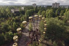 An abandoned Ferris wheel stands in a public space overgrown with trees in the former city center of Pripyat, Ukraine, on September 30, 2015. Pripyat lies only a few kilometers from the former Chernobyl nuclear power plant and was built in the 1970s to house the plant's workers and their families. Today Pripyat is a ghost-town, its apartment buildings, shops, restaurants, hospital, schools, cultural center and sports facilities derelict and its streets overgrown with trees. The city lies in…