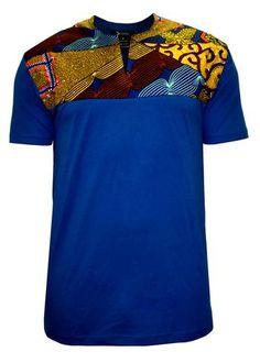 Dayo Men's African Print T-Shirt (Multipattern/Blue) African Inspired Fashion, African Print Fashion, Africa Fashion, African Fashion Menswear, African Fashion For Men, African Attire, African Wear, African Dress, African Shirts For Men