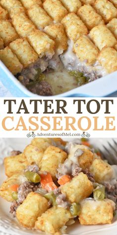 How to make a classic tater tot casserole with ground beef, vegetables, and mushroom soup. Easy delicious dinner recipe you can make ahead and freeze. Tator Tot Casserole Recipe, Tater Tot Hotdish, Tater Tot Recipes, Beef Casserole Recipes, Ground Beef Casserole, Casserole Dishes, Easy Delicious Dinner Recipes, Fall Dinner Recipes, Yummy Recipes