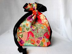 Drawstring Makeup Bag Jewelry Bag Cosmetic Pouch OOAK Authentic Japanese Kimono Floral Fabric Wine Red In Stock. $21.50, via Etsy.