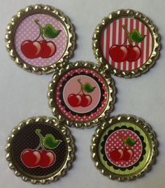 for the kitchen.easy to make in my personal color/pattern choices Cherry Hill, Cherry Tree, Cherry Blossom, Cherry Cherry, Cherry Kitchen Decor, Cherry Festival, Red And White Kitchen, Bottle Cap Magnets, Cherry Baby