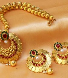 Black friday deals and offers mirraw Buy Gorgeous kempu necklace set necklace-set online Gold Wedding Jewelry, Sparkly Jewelry, Cute Jewelry, Jewelry Sets, Body Jewelry, Jewelry Design Earrings, Gold Jewellery Design, Gold Necklace Simple, Necklace Set