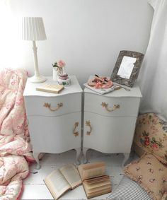 Pair of painted French style vintage bedside cabinets by EmmaAtLHV